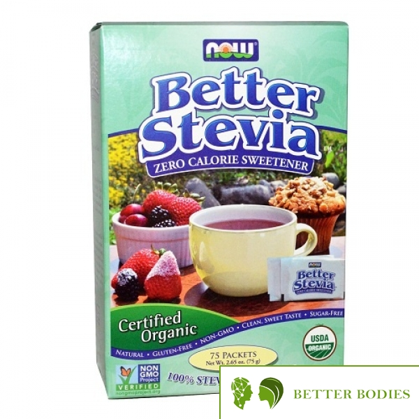 Now Foods - Better Stevia Organic, 75 пакети
