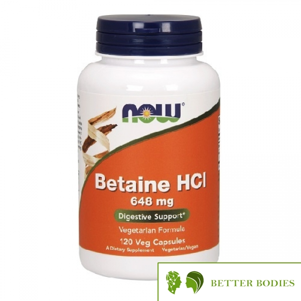 NOW Betaine HCL 648mg, 120 капсули