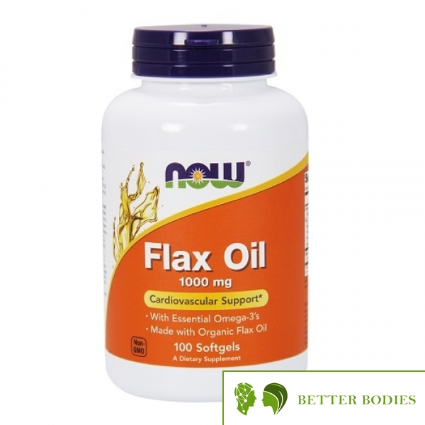 NOW Flax Oil 1000mg, 100 гел капсули