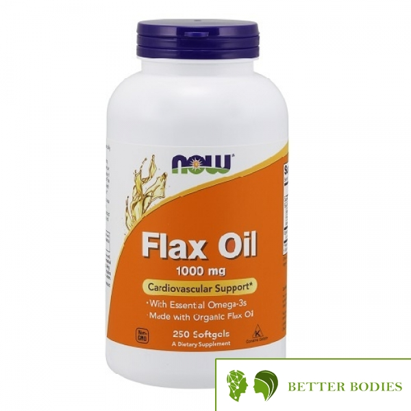 NOW Flax Oil 1000mg, 250 гел капсули