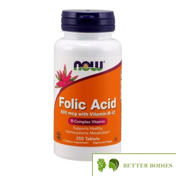 NOW Folic Acid 800mcg with Vitamin B-12, 250 таблетки