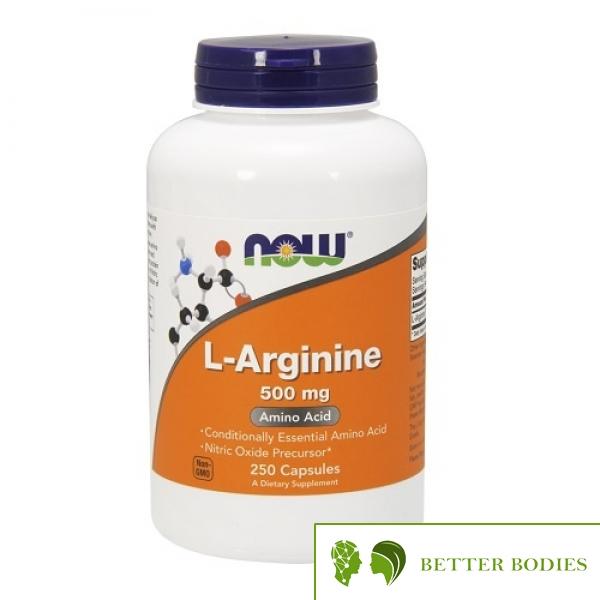 NOW L-Arginine 500mg, 250 капсули