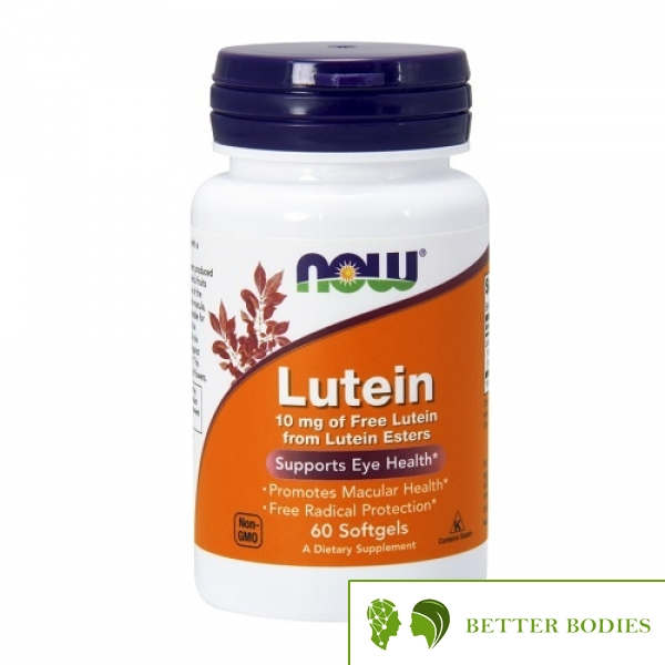 NOW Lutein 10mg, 60 гел капсули