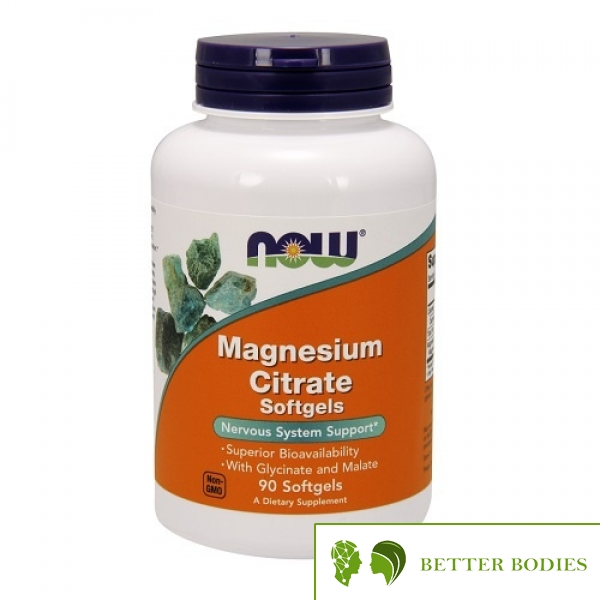 NOW Magnesium Citrate Softgels, 90 гел капсули