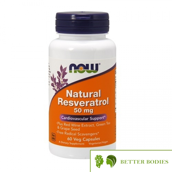 NOW Natural Resveratrol 50mg, 60 капсули