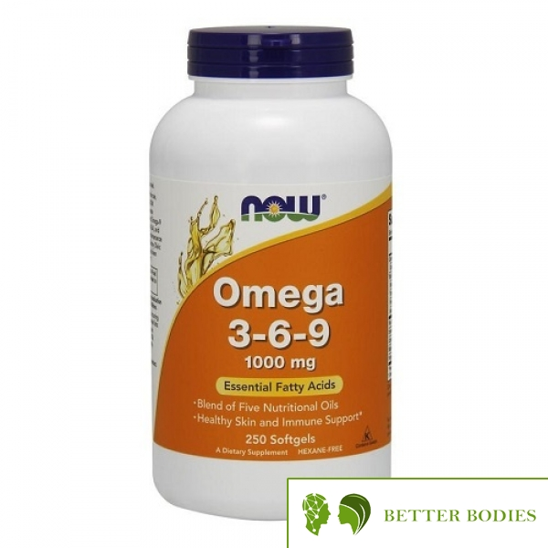 NOW Omega 3-6-9 1000mg, 250 гел капсули