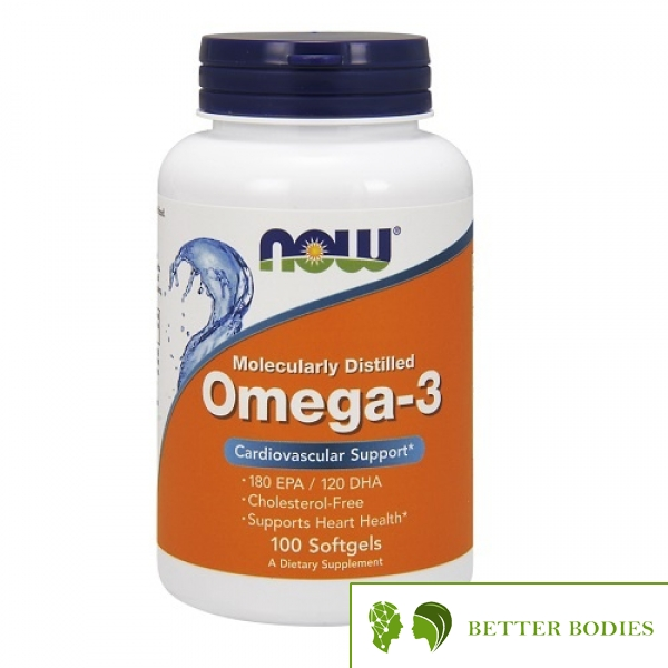 NOW Omega-3 Molecularly Distilled Fish Oil, 100 гел капсули