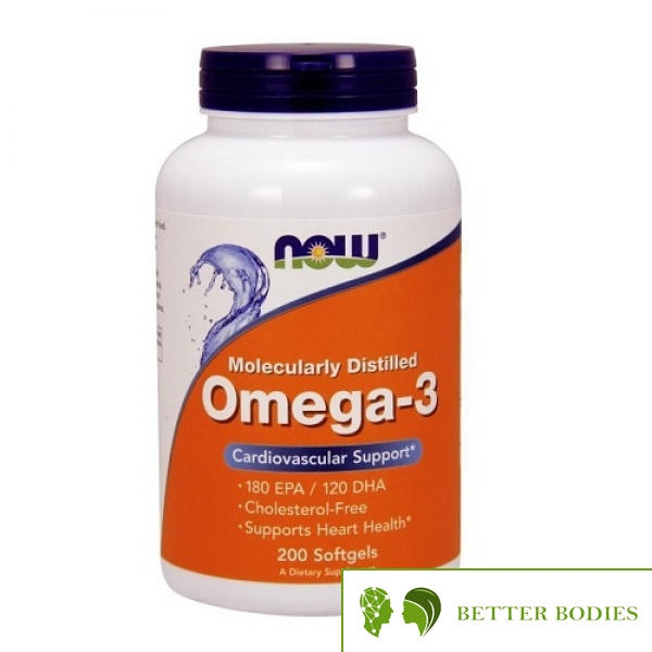 NOW Omega-3 Molecularly Distilled Fish Oil, 200 гел капсули