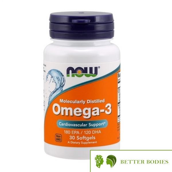 NOW Omega-3 Molecularly Distilled Fish Oil, 30 гел капсули