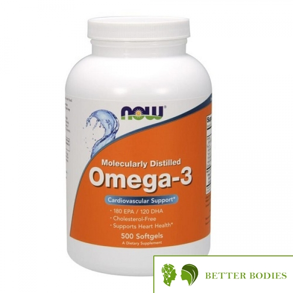 NOW Omega-3 Molecularly Distilled Fish Oil, 500 гел капсули