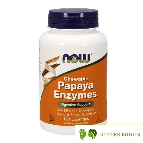 NOW Papaya Enzymes Chewable, 180 дъвчащи таблетки