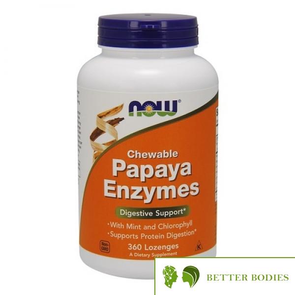 NOW Papaya Enzymes Chewable, 360 дъвчащи таблетки