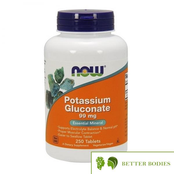 NOW Potassium Gluconate 99mg, 250 таблетки